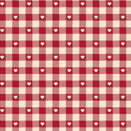 Tricoline Mini Corações no Xadrez Vermelho Ant 50cm x 1,50m