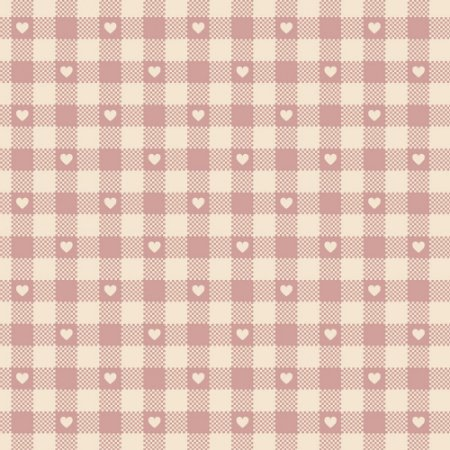 Tricoline Mini Corações no Xadrez Rosé, 50cm x 1,50mt