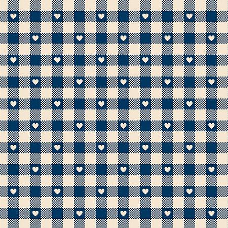 Tricoline Mini Corações no Xadrez Azul Antigo, 50cm x 1,50mt