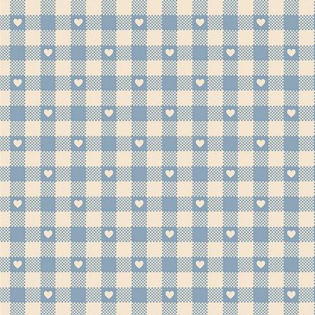 Tricoline Mini Corações no Xadrez Hortênsia, 50cm x 1,50mt