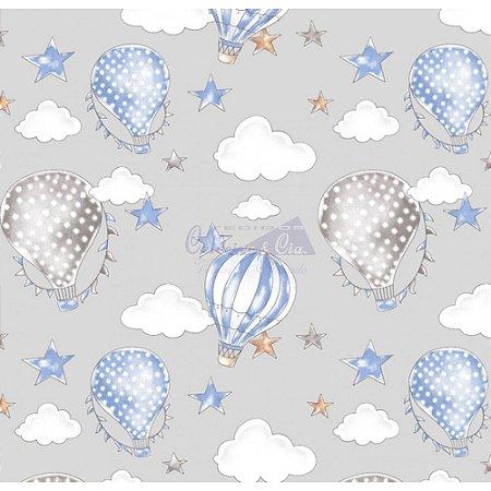 Tricoline Estampado Ballon - Cor-08 (Azul com Cinza), 100% Algodão, Unid. 50cm x 1,50mt