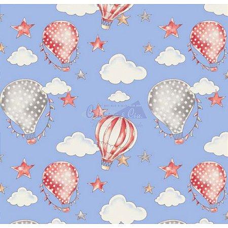 Tricoline Estampado Ballon - Cor-06 (Azul com Coral), 100% Algodão, Unid. 50cm x 1,50mt