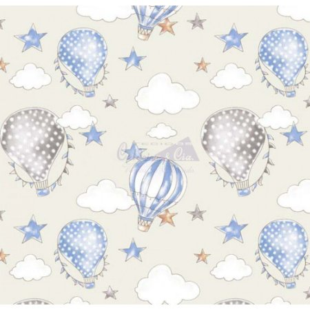 Tricoline Estampado Ballon - Cor-05 (Creme com Azul), 100% Algodão, Unid. 50cm x 1,50mt