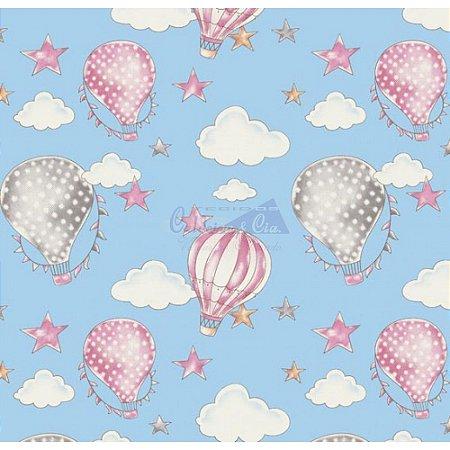 Tricoline Estampado Ballon - Cor-04 (Azul com Rosa), 100% Algodão, Unid. 50cm x 1,50mt