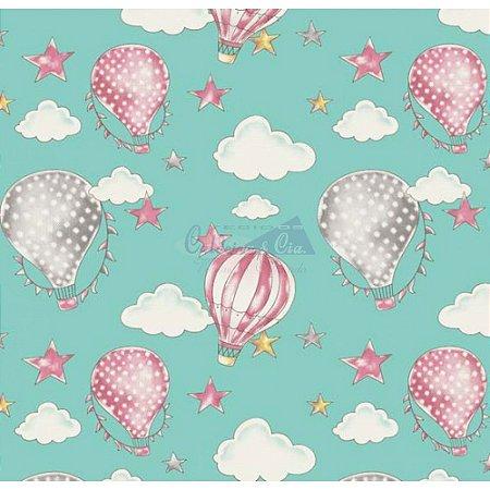 Tricoline Estampado Ballon - Cor-03 (Tiffany), 100% Algodão, Unid. 50cm x 1,50mt