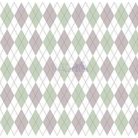 Tricoline Estampado Trapézio - Cor-23 (Verde com Cinza), 100% Algodão, Unid. 50cm x 1,50mt