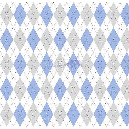 Tricoline Estampado Trapézio - Cor 08 (Azul com Cinza), 100% Algodão, Unid. 50cm x 1,50mt