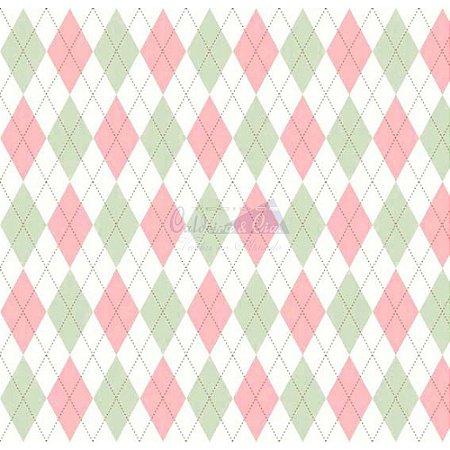 Tricoline Estampado Trapézio - Cor 09 (Verde com Rosa), 100% Algodão, Unid. 50cm x 1,50mt