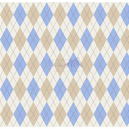 Tricoline Estampado Trapézio - Cor 05 (Creme com Azul), 100% Algodão, Unid. 50cm x 1,50mt