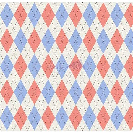 Tricoline Estampado Trapézio - Cor 06 (Azul com Coral), 100% Algodão, Unid. 50cm x 1,50mt