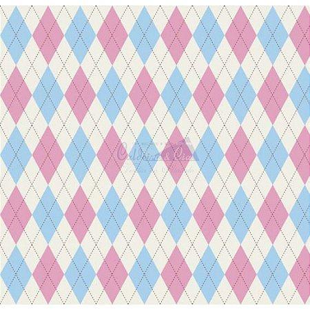 Tricoline Estampado Trapézio - Cor 04 (Azul com Rosa), 100% Algodão, Unid. 50cm x 1,50mt