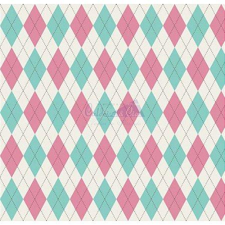 Tricoline Estampado Trapézio - Cor 03 (Tiffany com Rosa), 100% Algodão, Unid. 50cm x 1,50mt