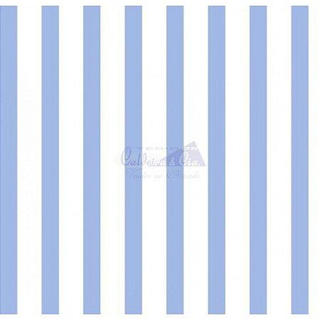 Tricoline Listrado Smart - Cor-12 (Azul com branco) , 100% Algodão, Unid. 50cm x 1,50mt