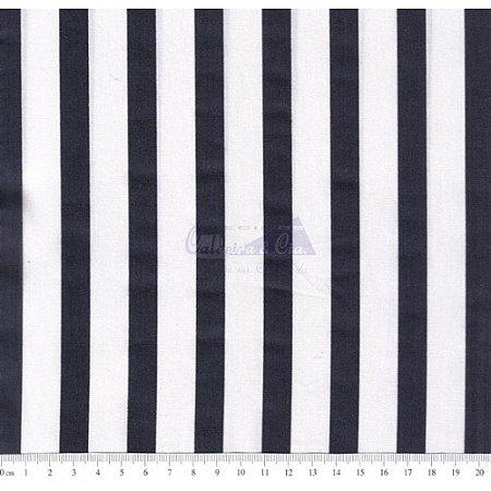 Tricoline Listrado Smart - Cor-06 (Marinho noite com Branco), 100% Algodão, Unid. 50cm x 1,50mt