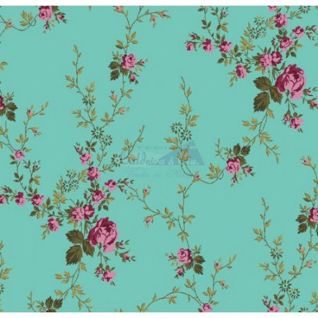 Tricoline Estampado Floral Sarah - Cor-203 (Tiffany) , 100% Algodão, Unid. 50cm x 1,50mt