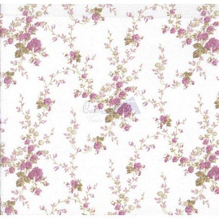 Tricoline Estampado Floral Sarah - Cor-56 (Uva) , 100% Algodão, Unid. 50cm x 1,50mt