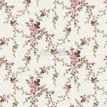 Tricoline Estampado Floral Sarah - Cor-48 (Rosa com Marrom) , 100% Algodão, Unid. 50cm x 1,50mt