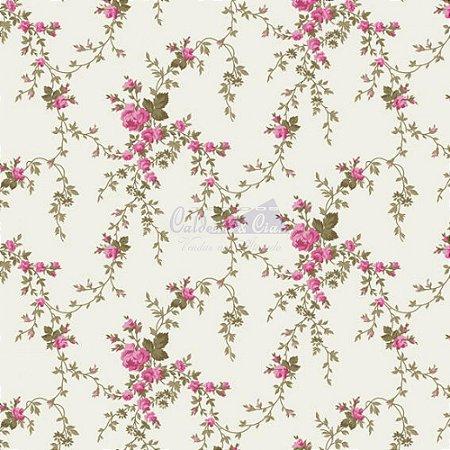 Tricoline Estampado Floral Sarah - Cor-16 (Pink) , 100% Algodão, Unid. 50cm x 1,50mt
