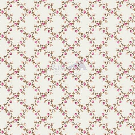Tricoline Estampado Floral Valentina - Cor-03 (Rosé) , 100% Algodão, Unid. 50cm x 1,50mt
