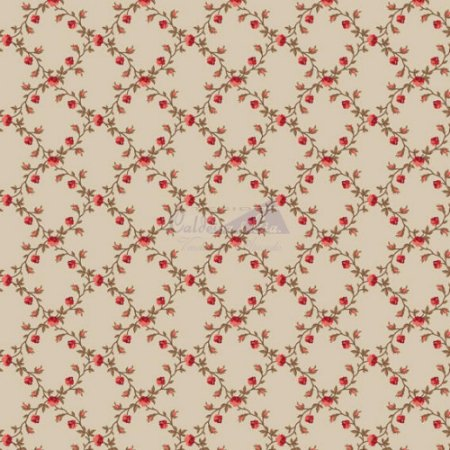Tricoline Estampado Floral Valentina - Cor-02 (Bege) , 100% Algodão, Unid. 50cm x 1,50mt