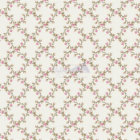 Tricoline Estampado Floral Valentina - Cor-01 (Rosa) , 100% Algodão, Unid. 50cm x 1,50mt