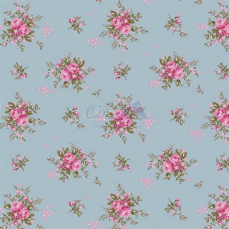 Tricoline Estampado Floral Yasmim - Cor-06 (Azul Vintage) , 100% Algodão, Unid. 50cm x 1,50mt