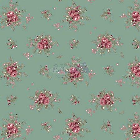 Tricoline Estampado Floral Yasmim - Cor-05 (Verde Vintage) , 100% Algodão, Unid. 50cm x 1,50mt