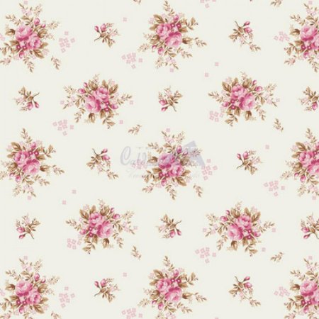 Tricoline Estampado Floral Yasmim - Cor-03 (Rosé) , 100% Algodão, Unid. 50cm x 1,50mt