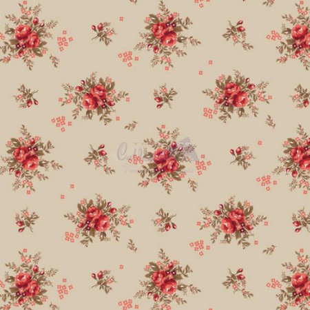 Tricoline Estampado Floral Yasmim - Cor-02 (Bege) , 100% Algodão, Unid. 50cm x 1,50mt