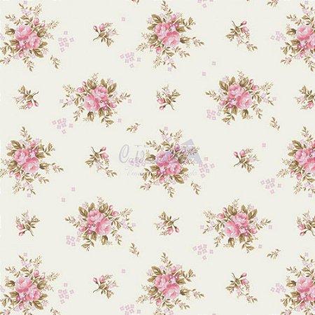 Tricoline Estampado Floral Yasmim - Cor-01 (Rosa) , 100% Algodão, Unid. 50cm x 1,50mt