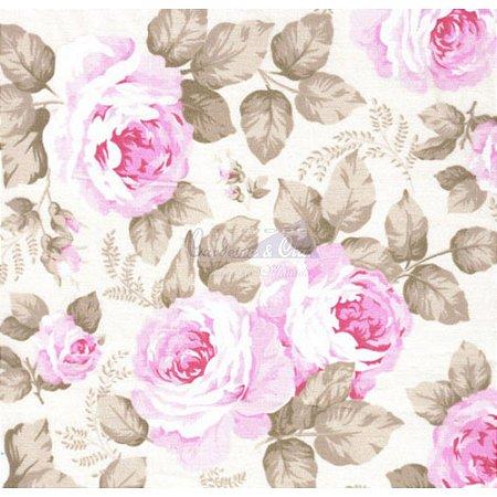 Tricoline Estampado Floral Jamile - Cor-02 (Bege com Rosa) , 100% Algodão, Unid. 50cm x 1,50mt