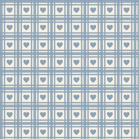Tricoline Corações Quadriculados Hortênsia, 50cm x 1,50m