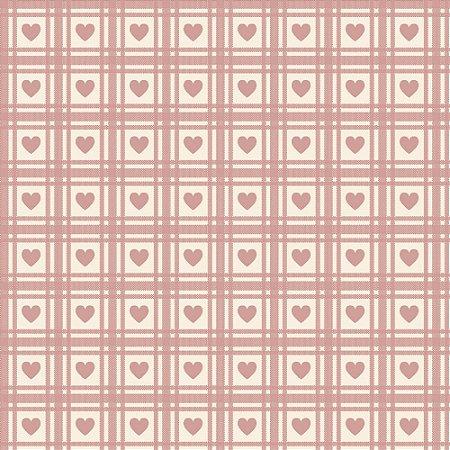 Tricoline Corações Quadriculados Rosé, 100% Alg 50cm x 1,50m