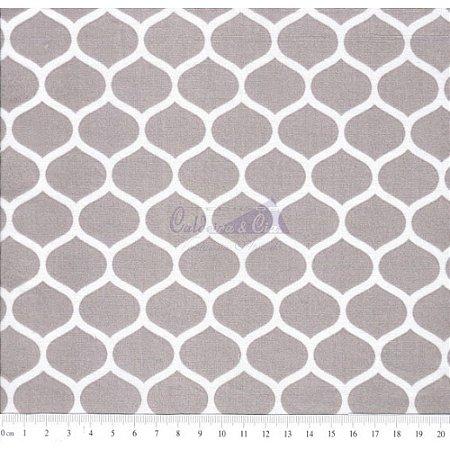 Tricoline Estampado Angelica - Cor-05 (Cinza), 100% Algodão, Unid. 50cm x 1,50mt