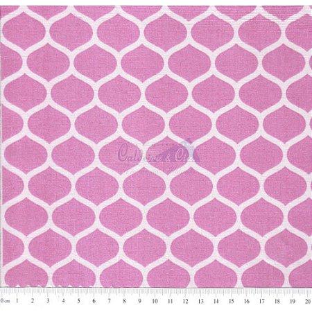 Tricoline Estampado Angelica - Cor-04 (Rosé), 100% Algodão, Unid. 50cm x 1,50mt