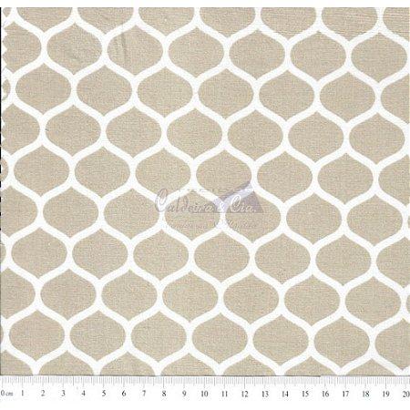 Tricoline Estampado Angelica - Cor-02 (Bege), 100% Algodão, Unid. 50cm x 1,50mt