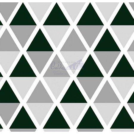 Tricoline Estampado Geométrico Margot - Cor-15 (Branco com Preto), 100% Algodão, Unid. 50cm x 1,50mt