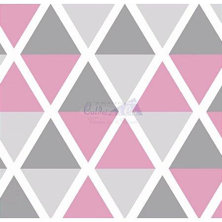 Tricoline Estampado Geométrico Margot - Cor-02 (Cinza com Rosé), 100% Algodão, Unid. 50cm x 1,50mt