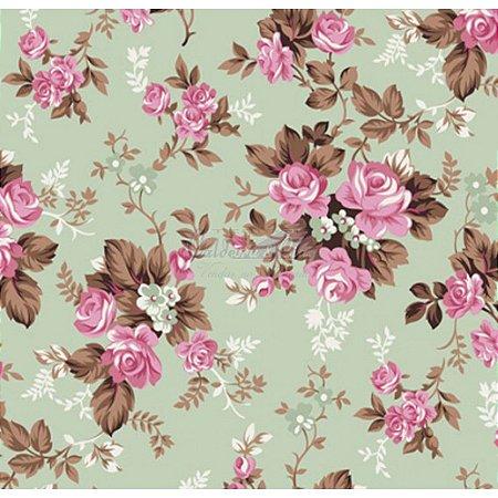 Tricoline Estampado Floral Iris - Cor-06 (Verde com Rosa), 100% Algodão, Unid. 50cm x 1,50mt