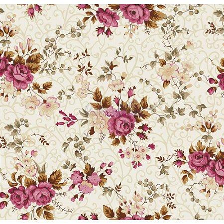 Tricoline Estampado Floral Fernanda - Cor-05 (Creme com Rosé), 100% Algodão, Unid. 50cm x 1,50mt
