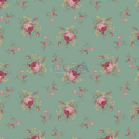 Tricoline Estampado Floral Angel - Cor-05 (Verde Vintage), 100% Algodão, Unid. 50cm x 1,50mt
