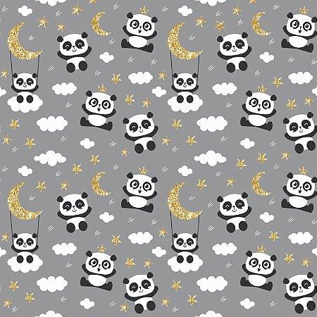 Tecido Tricoline Panda e Lua, 100% Algodão, 50cm x 1,50mt