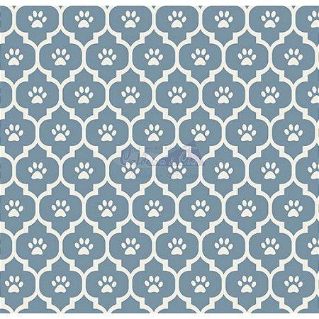 Tricoline Estampado Patinhas - Cor-03 (Jeans), 100% Algodão, Unid. 50cm x 1,50mt