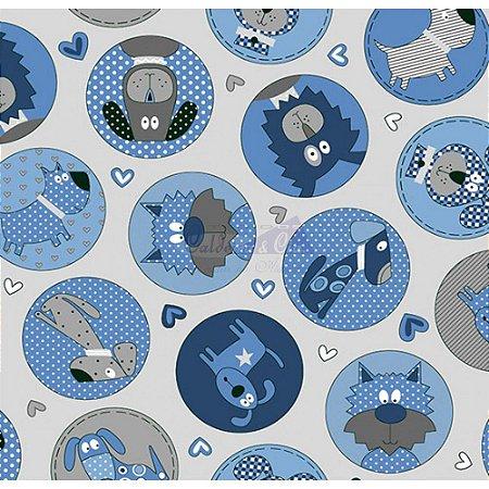 Tricoline Estampado Cute Dog - Cor-01 (Cinza com Azul), 100% Algodão, Unid. 50cm x 1,50mt