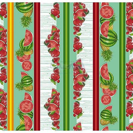 Tricoline Estampado Barrado Salada de Frutas - Cor-03 (Verde Tiffany), 100% Algodão, Unid. 50cm x 1,50mt
