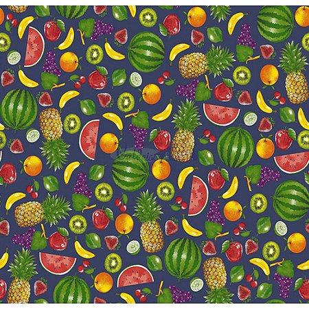 Tricoline Estampado Salada de Frutas - Cor-04 (Marinho), 100% Algodão, Unid. 50cm x 1,50mt