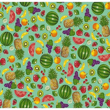 Tricoline Estampado Salada de Frutas - Cor-03 (Verde Tiffany), 100% Algodão, Unid. 50cm x 1,50mt