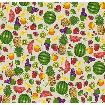 Tricoline Estampado Salada de Frutas - Cor-02 (Bege), 100% Algodão, Unid. 50cm x 1,50mt