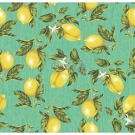 Tricoline Estampado Limão - Cor-03 (Verde Tiffany), 100% Algodão, Unid. 50cm x 1,50mt
