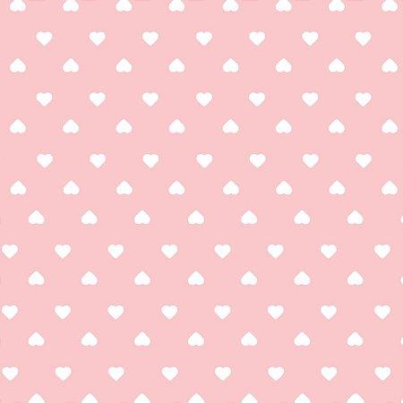 Tricoline Coração Branco F. Rosa BB, 100%Alg, 50cm x 1,50mt